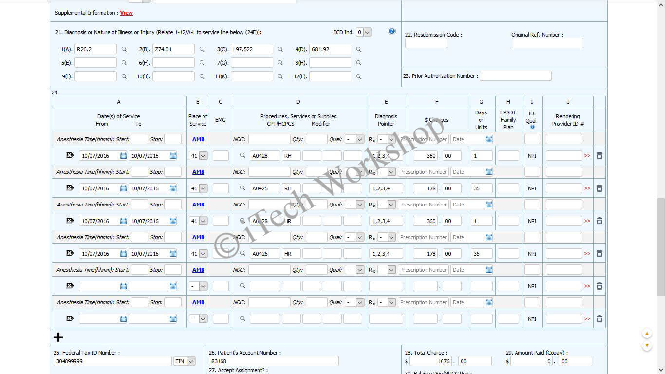 EMS/Medical Transport/Ambulance Billing Software- Service Level Medical Transport/Ambulance Link