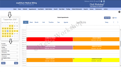 eMB Appointment Scheduler- Appointment Filters
