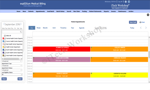 eMB Appointment Scheduler- Facilities Selection View