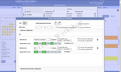 eMB Appointment Scheduler- Provider Settings View